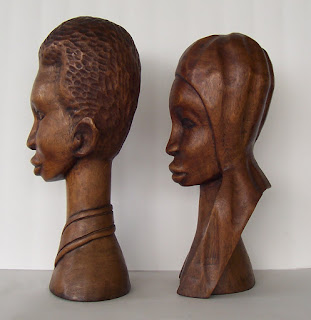 Wood Carving of African American Couple Left side view