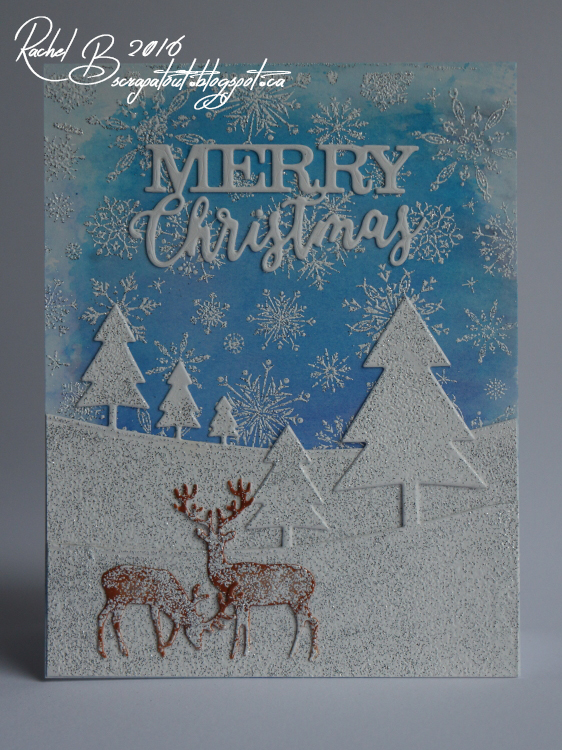 Scrapatout - Handmade card, Impression Obsession, Winter, Christmas, Snowflakes, Trees