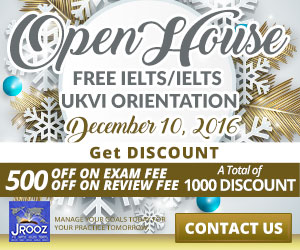 JROOZ FREE IELTS/IELTS UKVI Open House. Join us on December 10, 2016. Know the basics of IELTS and IELTS UKVI. GET 1000 OFF!