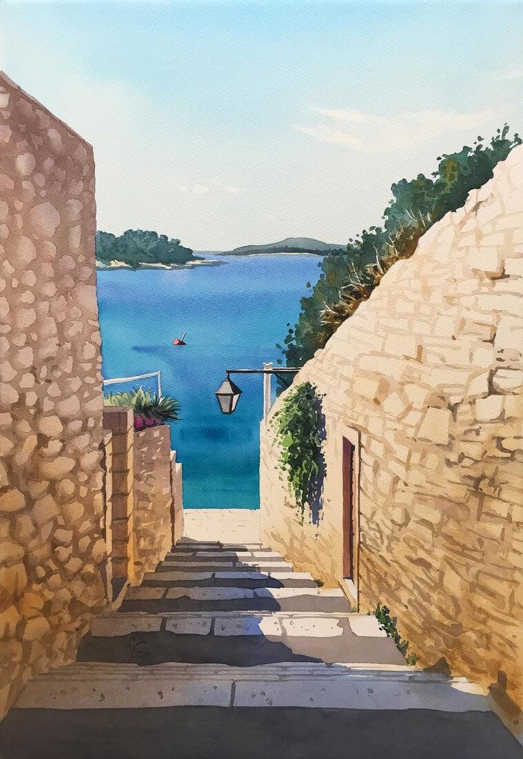 11-Hvar-Croatia-Sea-Street-Eleanor-Mill-European-Architecture-in-Watercolor-Paintings-www-designstack-co
