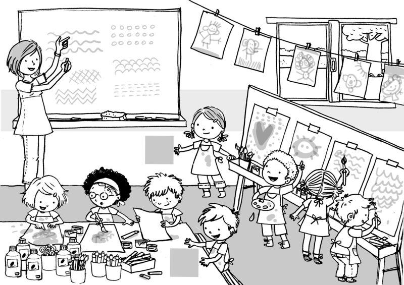 Burbuja de lenguaje im genes para hablar el colegio - Coloriage classe maternelle ...