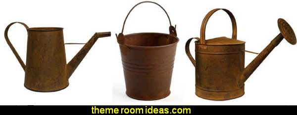Rusted Metal Watering Can  primitive americana decorating style - folk art - heartland decor - rustic Americana home decor - Colonial & Country style decorating Americana bedroom designs - Primitive Country Rustic decor
