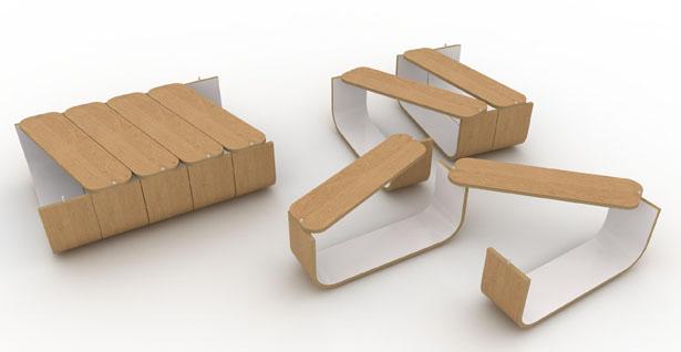 flexible multiple use umyd modular table by cruxflux spicytec. Black Bedroom Furniture Sets. Home Design Ideas