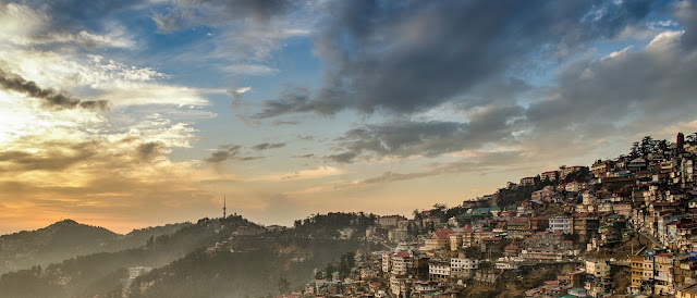 Shimla houses sunset view