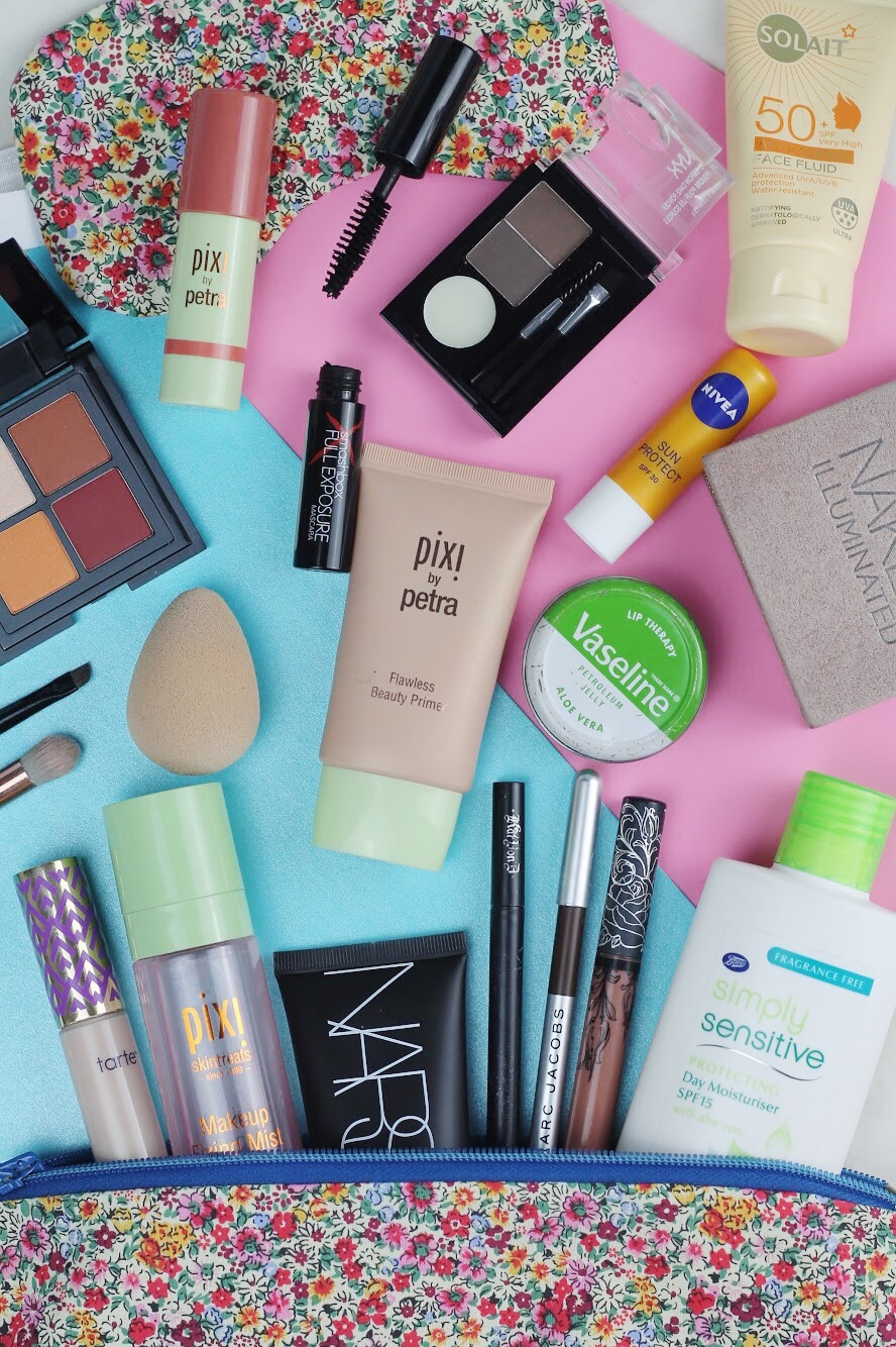 what's in my travel makeup bag by liverpool blogger tie dye eyes