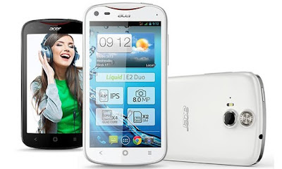 Acer Liquid E2 Specifications - LAUNCH Announced 2013, April Also Known as Acer Liquid E2 Duo with dual-SIM card slots DISPLAY Type IPS LCD capacitive touchscreen, 16M colors Size 4.5 inches (~62.7% screen-to-body ratio) Resolution 540 x 960 pixels (~245 ppi pixel density) Multitouch Yes BODY Dimensions 131 x 68 x 9.9 mm (5.16 x 2.68 x 0.39 in) Weight 140 g (4.94 oz) SIM Single SIM (Micro-SIM) or Dual SIM (Micro-SIM, dual stand-by) PLATFORM OS Android OS, v4.2.1 (Jelly Bean) CPU Quad-core 1.2 GHz Cortex-A7 Chipset Mediatek MT6589 GPU PowerVR SGX544 MEMORY Card slot microSD, up to 32 GB (dedicated slot) Internal 4 GB, 1 GB RAM CAMERA Primary 8 MP, autofocus, LED flash Secondary 2 MP Features Geo-tagging, touch focus Video 1080p@30fps NETWORK Technology GSM / HSPA 2G bands GSM 850 / 900 / 1800 / 1900 - SIM 1 & SIM 2 (dual-SIM model only) 3G bands HSDPA 900 / 2100 Speed HSPA GPRS Yes EDGE Yes COMMS WLAN Wi-Fi 802.11 b/g/n, hotspot GPS Yes, with A-GPS USB microUSB v2.0 Radio FM radio Bluetooth v3.0, A2DP, EDR FEATURES Sensors Accelerometer, gyro, proximity, compass Messaging SMS (threaded view), MMS, Email, Push Email Browser HTML Java No SOUND Alert types Vibration; MP3, WAV ringtones Loudspeaker Yes, with stereo speakers 3.5mm jack Yes  - DTS sound  - Active noise cancellation with dedicated mic BATTERY  Removable Li-Ion 2000 mAh battery Stand-by Up to 450 h Talk time Up to 9 h Music play  MISC Colors Black, White SAR EU 0.23 W/kg (head)      - MP3/WAV/WMA/eAAC+ player - MP4/H.264 player - Document viewer
