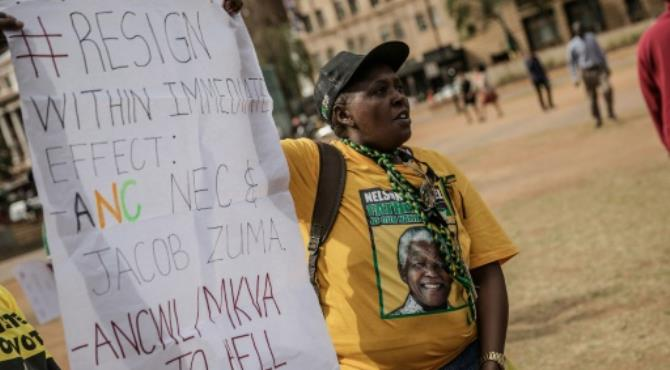 Disgruntled members of South Africa's ruling African National Congress (ANC) party demonstrate demanding the resignation of President Jacob Zuma. By Gianluigi Guercia (AFP/File). Johannesburg (AFP) - Record electoral losses and deep internal divisions are threatening both the long hold on power enjoyed by South Africa's ruling ANC party and the political future of President Jacob Zuma.