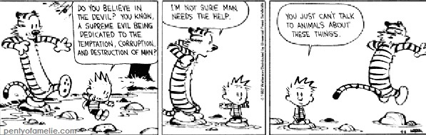 "when calvin and hobbes talk about ""do you believe in the devil"" and scheme?"