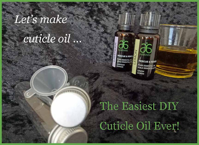How to make the easiest DIY cuticle oil ever - every thing ready to begin - olive oil, lemon oil, lavender oil, bottle and funnel