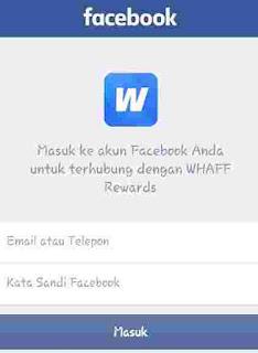 Masukan data facebook untuk daftar di whaff locker