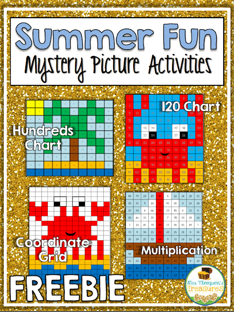 Free Summer Mystery Pictures Math Activites