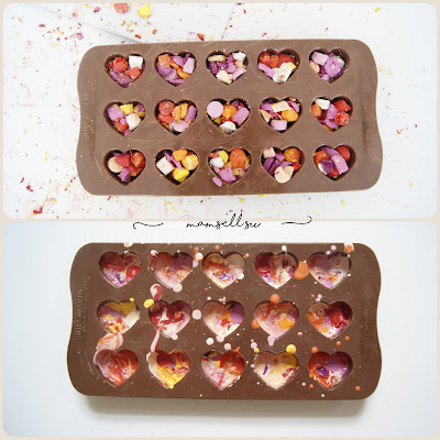 Bastelanleitung, DIY, einfach, Valentinstagskarte, Tutorial, Küsse verschicken, Valentinstag, hearts, crayon, Herzen aus Ölkreide, Herzbotschaft,