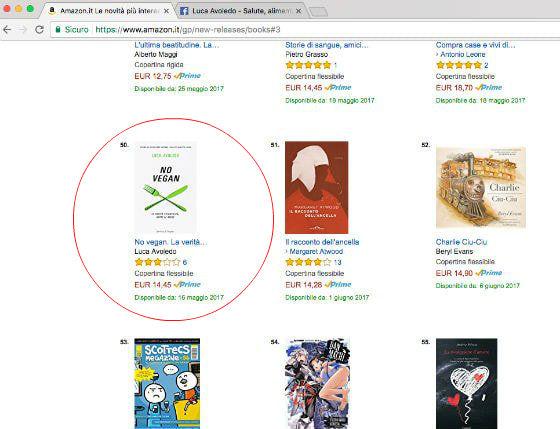 Il libro No Vegan è tra le novità più vendute di Amazon
