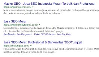 hasil tampilan keyword di mesin pencari google