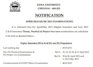 Anna univ 2nd 4th 6th 8th semester april may june exam 2013 practical dates
