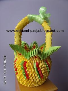 Duży koszyk wielkanocny - origami modułowe.