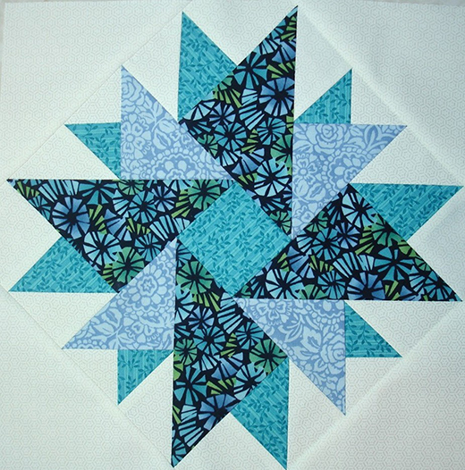 Double Aster Block Quilt free Pattern