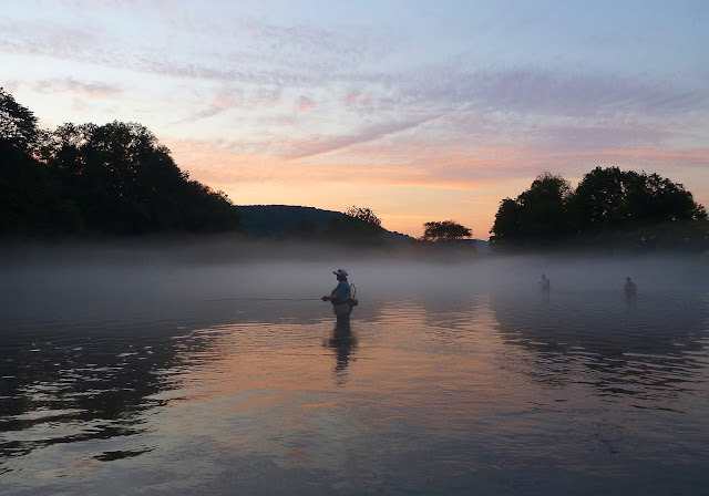 Fishing the West Branch of Delaware River at sunset in the mist/fog