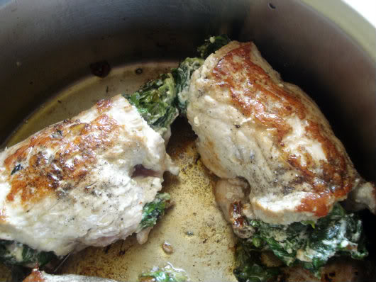 saute stuffed chops in hot oil