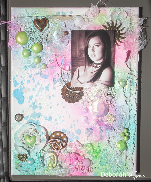 Kat - mixed media canvas - photo by Deborah Frings - Deborah's Gems