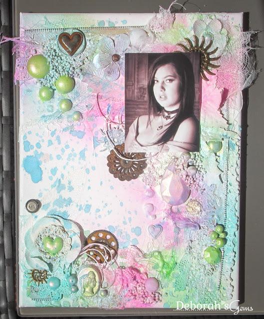 Kat - mixed media canvas - photo by Deborah Frings - Deborah's Gems