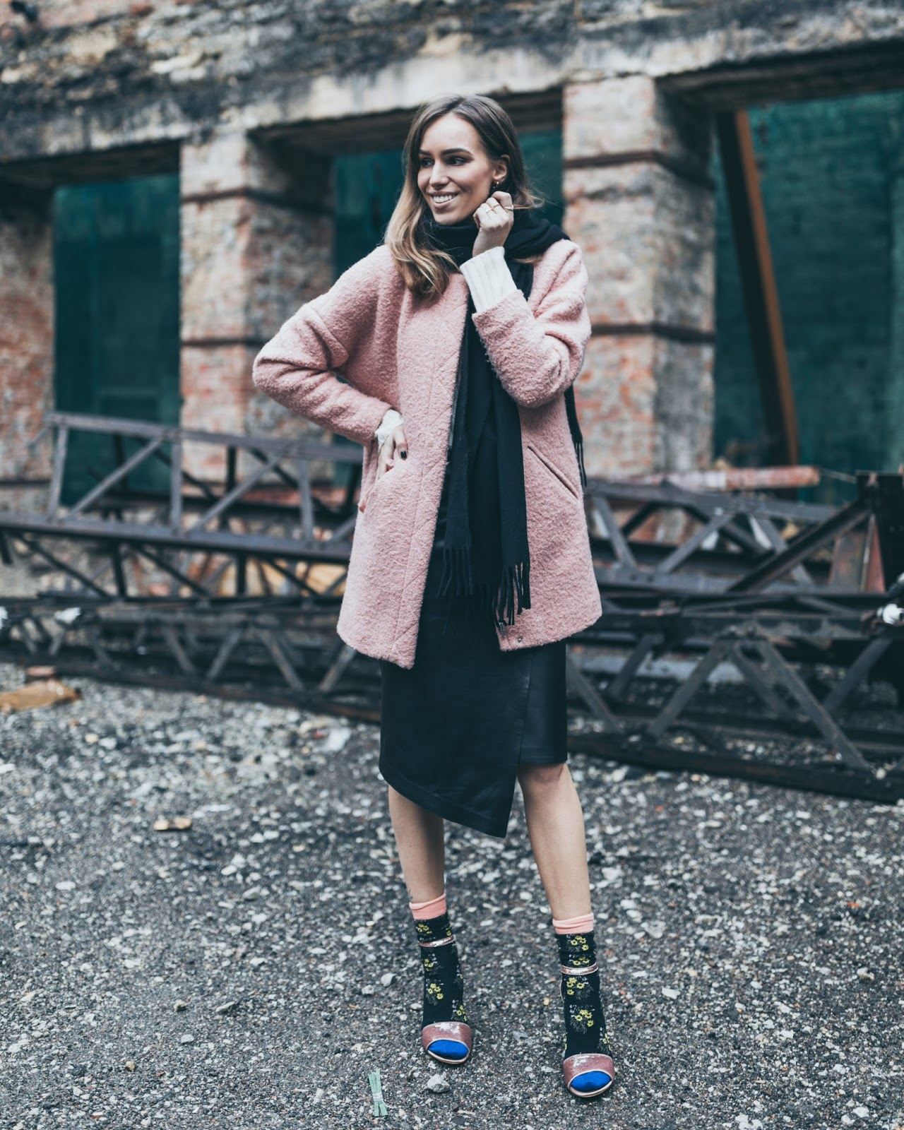 wrap leather midi skirt socks sandals winter outfit