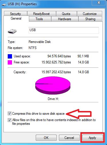 Cara kompres drive menggunakan NTFS Compresion langkah 1