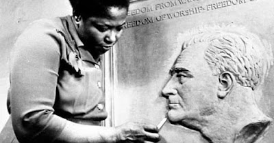 Selma Burke sculpting a portrait of Franklin D. Roosevelt