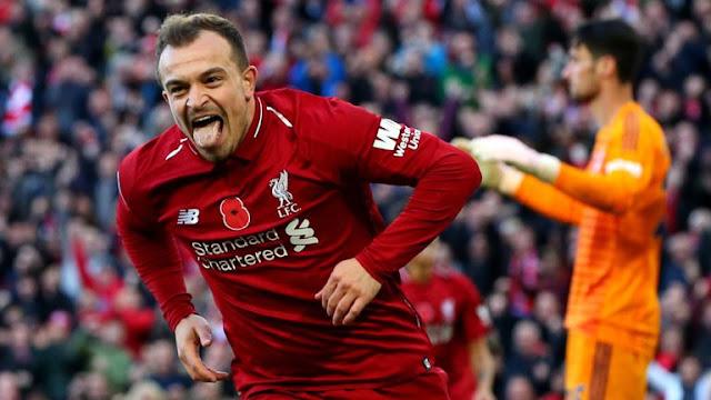 Xherdan Shaqiri Celebrates Liverpool 2 - 0 Fulham