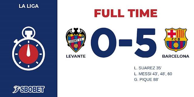 Replay Gol Levante vs Barcelona Skor Akhir 0-5