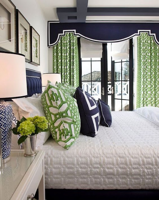 bedroom with navy and green decor