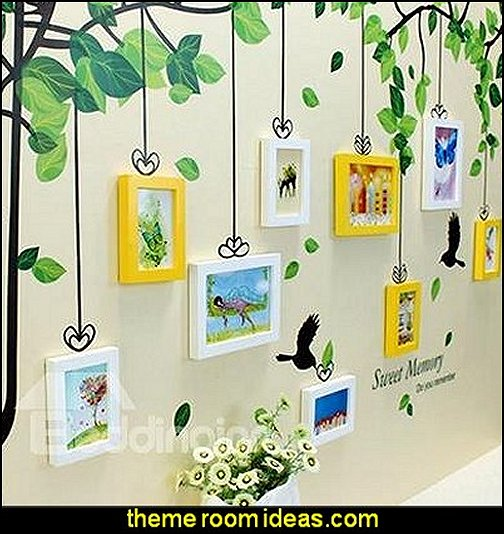 Tree Wall Photo Frame Set with Wall Stickers wall decorations - wall art prints - wall stencils - wall murals - wall decals - wall decor - Lighted Letters - wall letters - Storage wall shelves