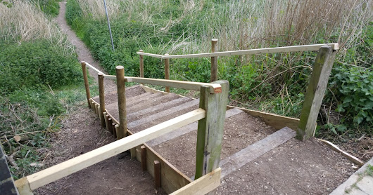 New steps at 100 Acre access point
