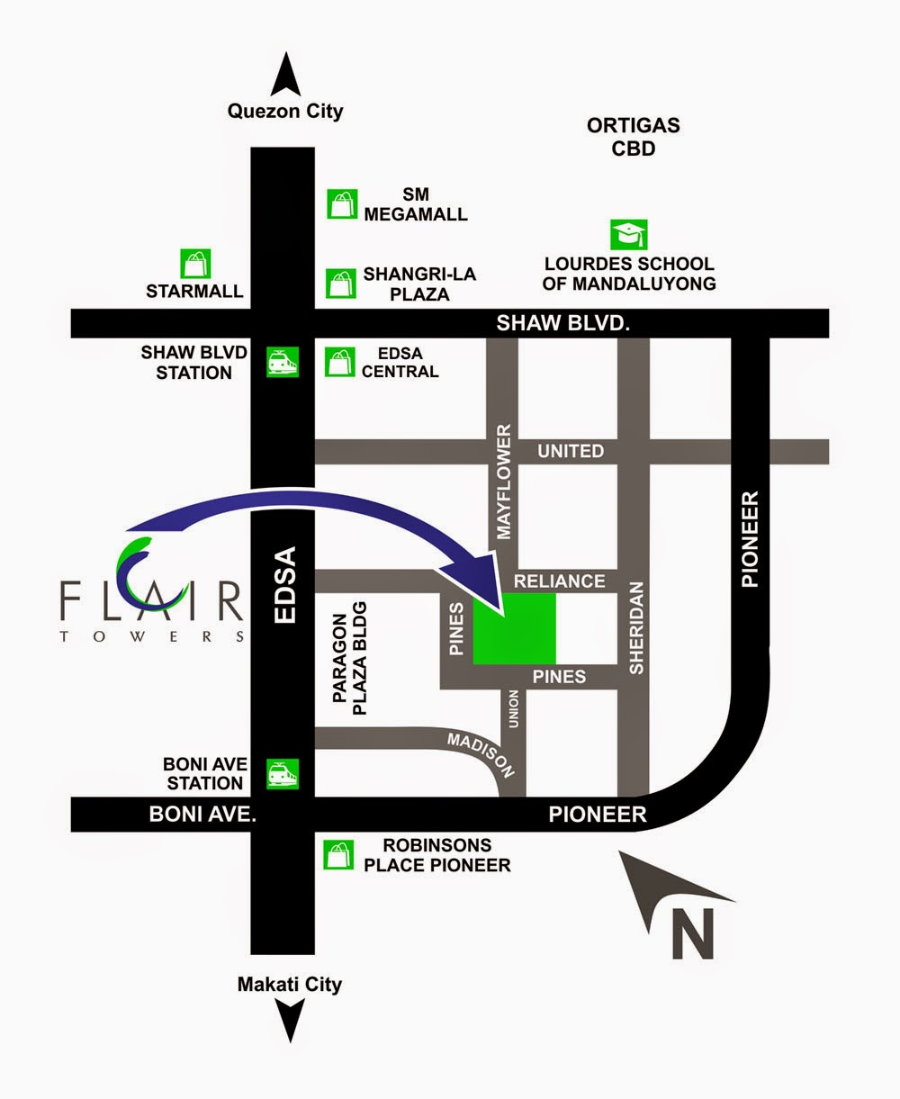 Flair Towers Location Map