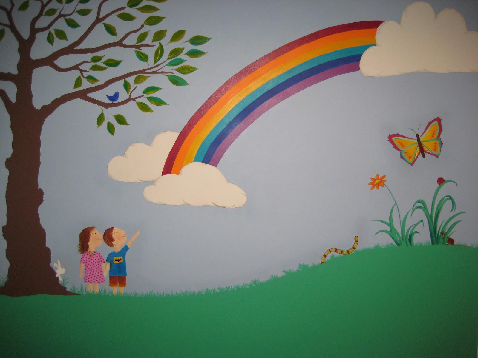 rainbow wall mural 2017 - Grasscloth Wallpaper