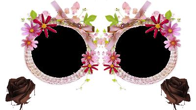 Moldura Páscoa 2016-2 fotos-Flores e 2 Rosas de chocolate PNG