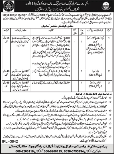 Govt Jobs in School Education Department Govt of Punjab Muzaffargarh 2019