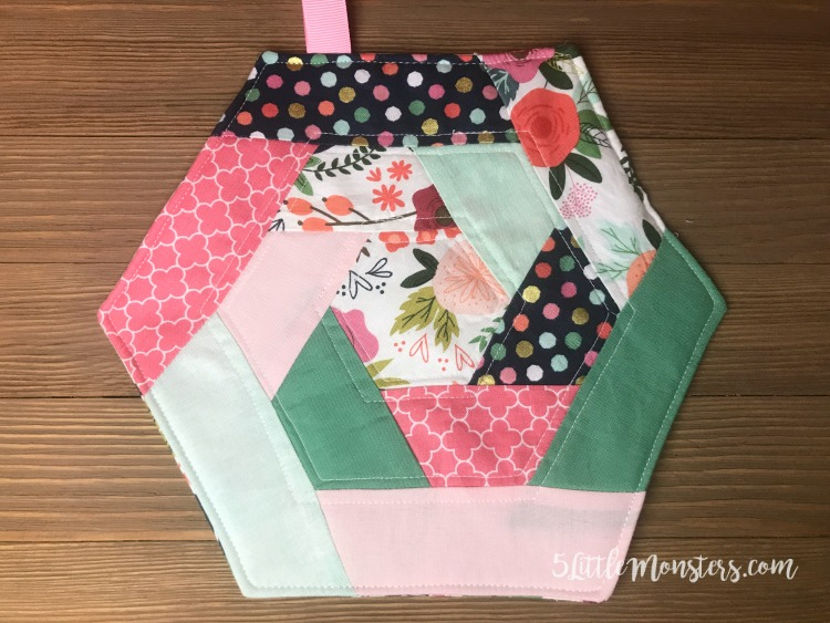 5 Little Monsters: Quilted Hexagon Potholder