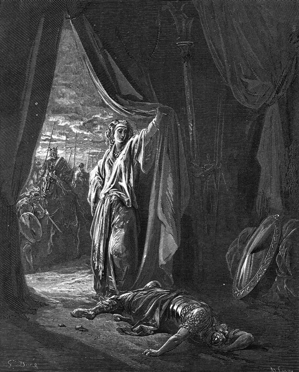 A grisly narration of Sisera's death at the hands of Jael. Debora agrees to accompany Barak to war but tells Barak that because he will not go without her, the Lord will hand Sisera over to a woman and he will be denied the honor of victory.
