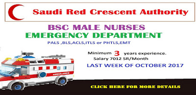 BSC MALE NURSES VACANCY FOR SAUDI RED CRESCENT AUTHORITY