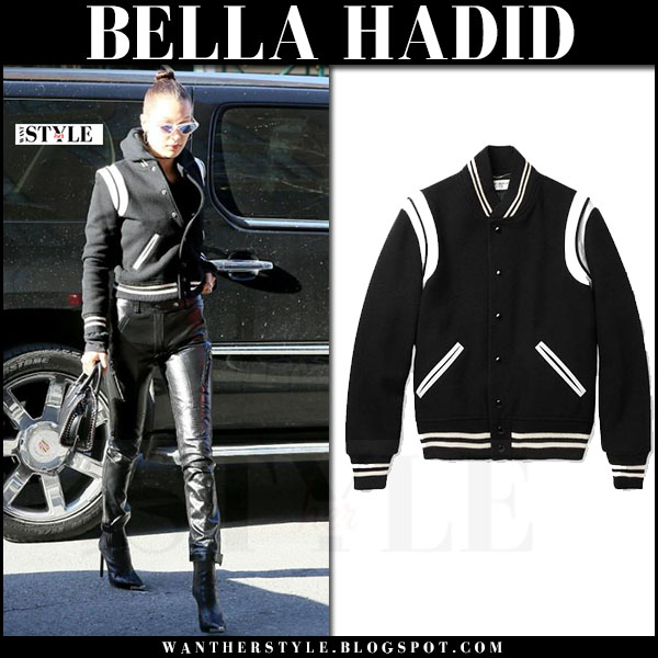 Bella Hadid in black white trim varsity jacket saint laurent, black leather pants what she wore