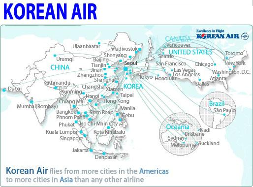 korean air route map korean air schedule korean air flight cabin onboard air caa europe south america