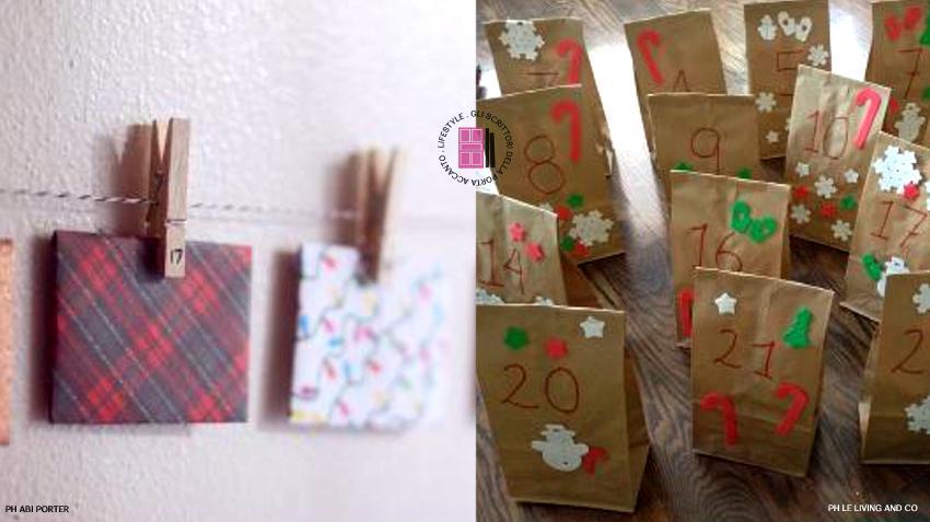 Idee originali calendario avvento bustine di carta appese con mollette o sacchetti di carta decorati
