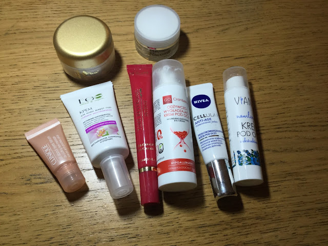ava mustela tlusty krem pod oczy, nacomi arganowy krem pod oczy, eco lab krem pod oczy z kwasem hialuronowym, go cranberry krem pod oczy, nivea cellular anti age, vianek krem pod oczy,clinique all  eyes serum, oriflame time reversingabout