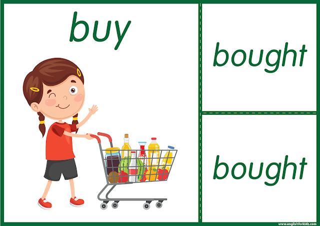 Irregular verb buy - printable ESL flashcards