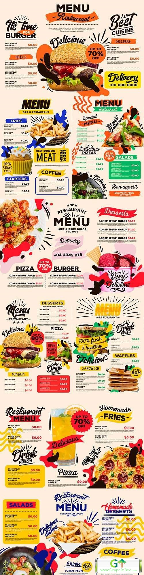 Menu modern restaurant design collection template