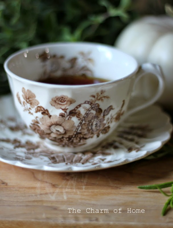The Charm of Home: Brown Transferware Teacup