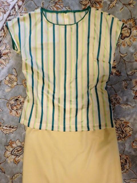 Ompelua: vihreäraitainen pusero