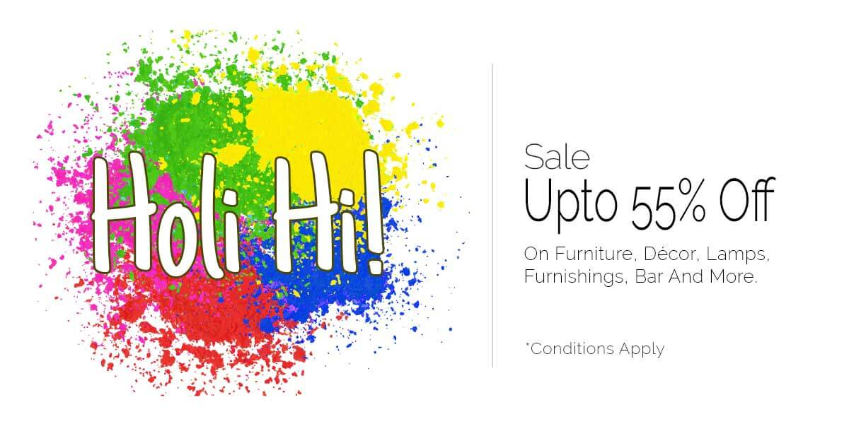 Pepperfry holi sale get upto 50 off on home decor products for Home decor 50 off