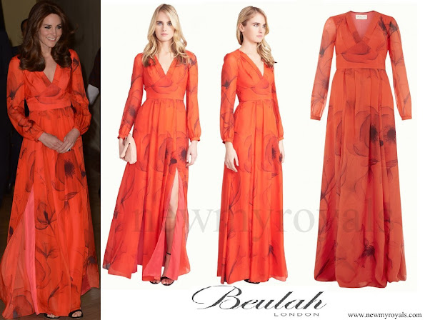 Kate Middleton wore Beulah London Juliet V neck Pleated Chiffon Gown